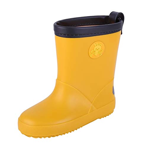 Spring Cap Stretch Fit Trainer - ℱLOVESOOℱ Children Kids Waterproof Rain Boots with Easy-On Handles, Cute Cartoon Print Rain Boots for Toddlers and Babys Yellow