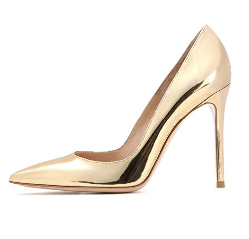 Leather Patent Pumps Metallic (Sammitop Women's Metallic High Heels Pointed Toe Gold Pumps Shiny Leather Stilettos Dress Shoes US8.5)
