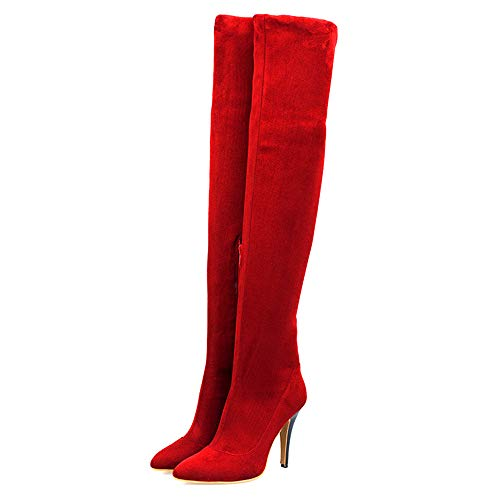 Sexy Fur Boots - Shoe'N Tale Women Over The Knee High Stretchy Leather Thigh high Snow Boots (10 B(M) US, Red)