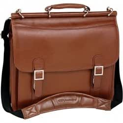 """Mcklein 15.4"""" Halsted Brown Double Compartment Notebook Case Full Grain Oil Tanned Leather"""