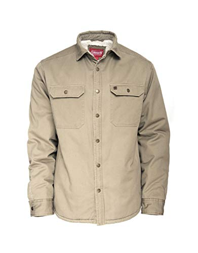 (Coleman Sherpa Lined Twill Shirt Jackets for Men 100% Cotton (Large, Driftwood))