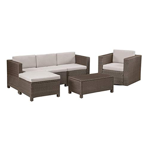 Excellent Amazon Com Buzz Outdoor 4 Seater Wicker L Shaped Sectional Download Free Architecture Designs Scobabritishbridgeorg