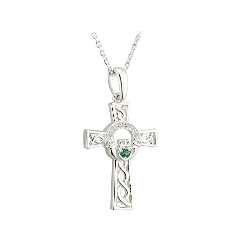 (Failte Celtic Cross Necklace Sterling Silver and Green Crystal Made in Ireland)