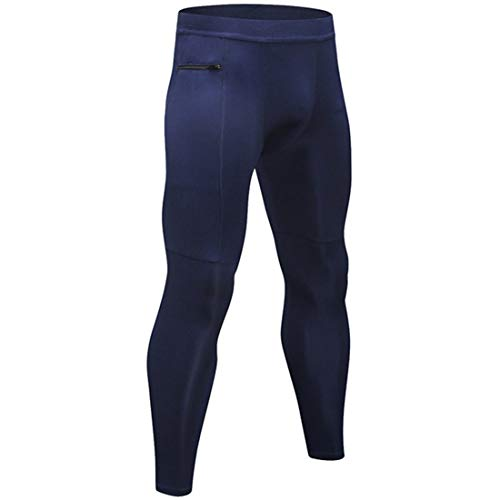 (Freahap Mens Compression Pants Men Leggings Sports Pants Tight Running Trousers Quick Dry Navy XL)