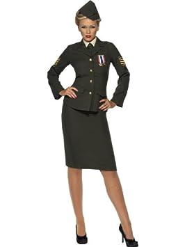 Smiffy/'s Women/'s Wartime Officer Costume Green Medium