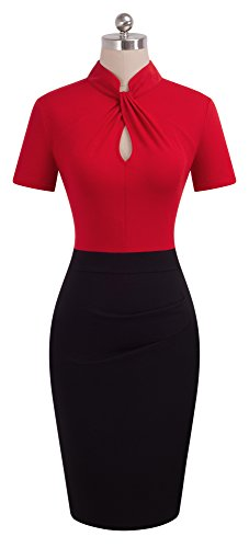 Corta B430 Homeyee Donna Manica Rosso Bodycon A Vintage Stand Abito Colletto Matita Business CxWrdQBoeE