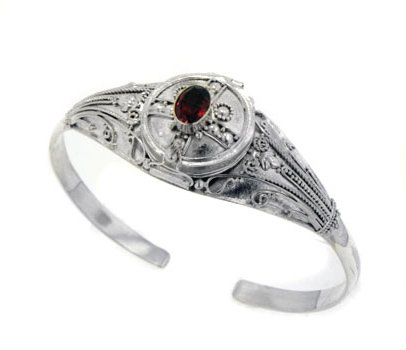 Medieval Sterling Silver Genuine Garnet Locket Box Poison Cuff Bracelet by Silver Insanity
