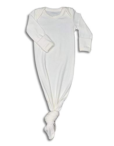Baby Gown Newborn, Knotted Infant Sleeper for Baby Girl and Boy in a Canvas Bag (Ribbed White, Newborn)