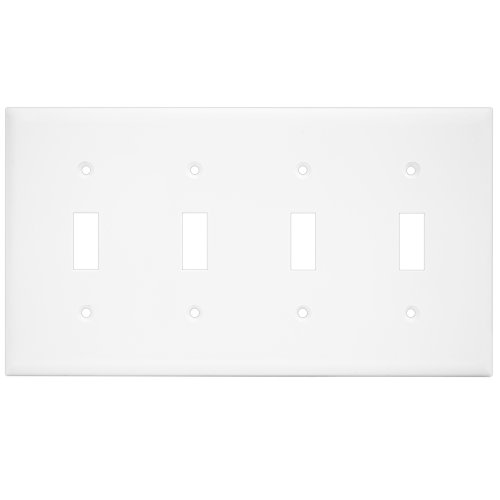 Enerlites 8814-W 4-Gang Toggle Wall Switch Plate, Standard Size, Unbreakable Polycarbonate, White