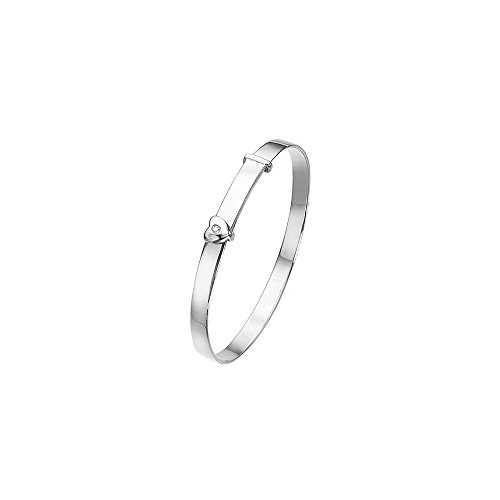 - 0.01 Cts Diamond Heart Adjustable Baby Bangle in Silver