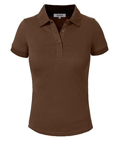 (NE PEOPLE Womens Basic Solid Pique Polo Shirt 16 Colors Large NEWT30-BROWN)
