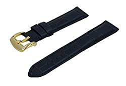 22mm Red Crocodile Grain Padded Italian Calfskin Leather Watch Band With Polished Gold Buckle