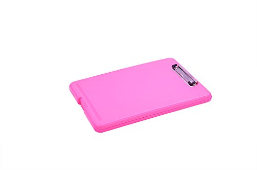 Plastic Clipboard Storage Case, Clipboard with Storage Box for Papers, Forms, Notepads,Pink (Pink Clipboard Storage Box)