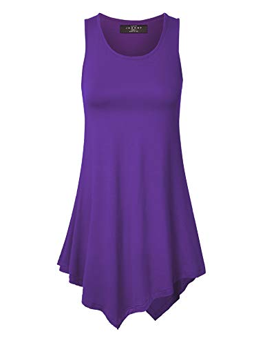 Made By Johnny WT671 Womens Handkerchief Hem Tank Tunic Top XXL Dark_Purple