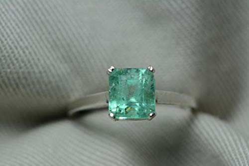 Certified 1.52 Carat Emerald Ring, Colombian Emerald Solitaire, Sterling Silver, Genuine Real Natural Emerald Cut May Birthstone Jewelry er8 ()
