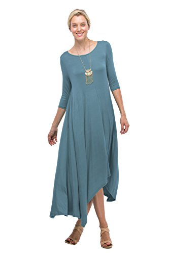 50fb1202a05b Love In 3/4 Long Sleeve Round Neck High Low Flared Maxi Dress W/Pocket