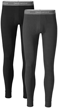DAVID ARCHY Men's Soft Cotton Thermal Underwear Rib Stretchy Base Layer Thermal Top and Bottom Long Johns Set 2 Pack Leggings