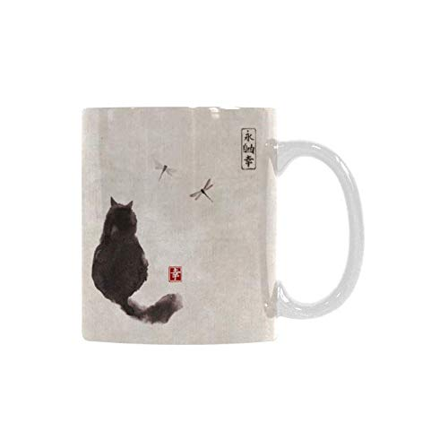 - InterestPrint Vintage Fluffy Cat and Dragonfly Traditional Japanese Ink Painting White Ceramic Coffee Mugs Office Tea Cups for Women Men Kids Mom Dad Friends, 11 Ounce