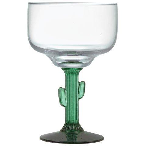 Margarita Glass with Jade like Cactus Stem