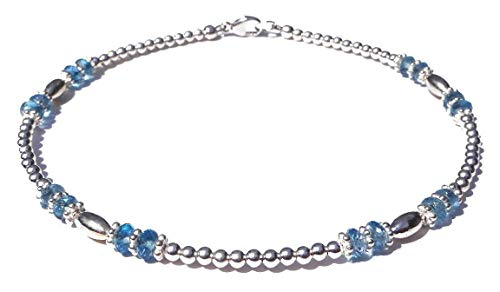 DAMALI Swiss Blue Topaz Silver Gemstone Beaded Anklet November Birthstone Jewelry Petite to Plus Sizes