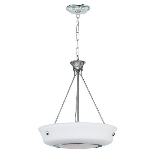 - 1-Light Classic Foyer Pendant, Satin Chrome Finish, Frosted Glass