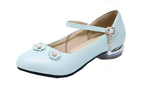 Round Heels Shoes Court Buckle Solid Toe WeenFashion Closed PU Women's Blue Low YfzwqvEa