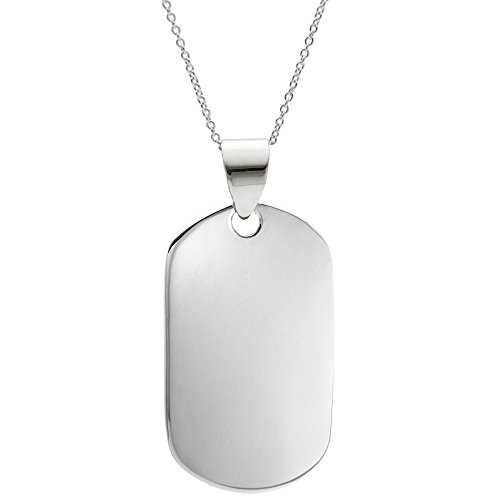 - Silverly Women's Men's .925 Sterling Silver Military Dog ID Tag Plain Pendant Chain Necklace, 46cm