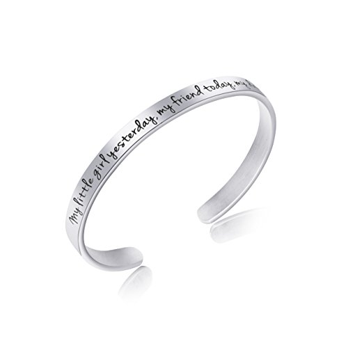 Awegift Cuff Bracelet Engraved Stainless Steel Daughters Jewelry From Mom & Dad Wedding Gifts from Parents My Little Girl Yesterday, My Friend Today, My Daughter Forever