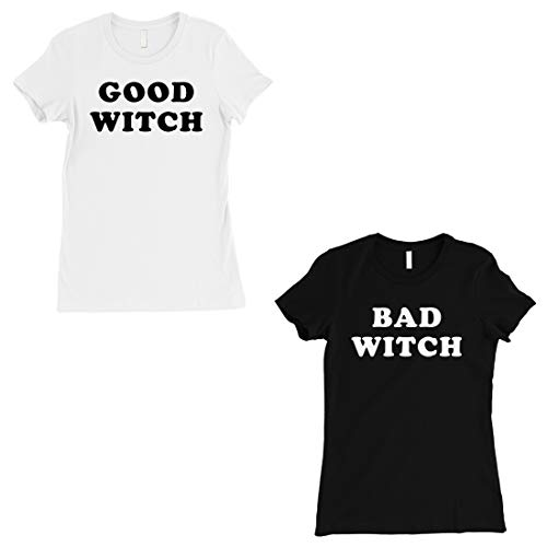 365 Printing Good Witch Bad Witch Best Friend Matching Shirts Halloween Tshirts -