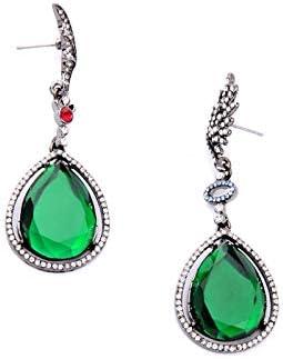SupKey.L Joyas de Esmeraldas Cristal Verde Pendientes de Gota de Agua Pendientes de Gota