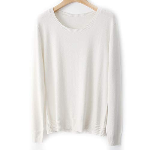 WNDSYN Spring Winter O-Neck Cashmere Wool Sweater Women Solid Big Pullovers Jumper Knitted Sweaters White S