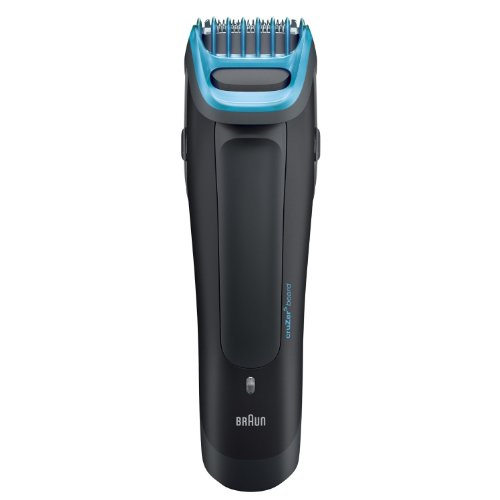 Braun Beard and Head Trimmer with Ultra-Sharp Stainless Steel Trimming Element with 6 Adjustable Beard Comb Lengths, Features a Dual Battery System with World Wide Voltage and LED Indicator Fully Washable