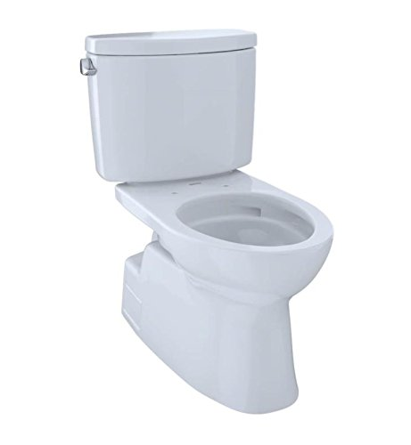 Toto CST474CEFGNo.11 Vespin II Two-Piece High-Efficiency Toilet, with SanaGloss, 1.28-GPF, Colonial White (Elongated Toilet Sanagloss Two Piece)