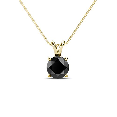 TriJewels Black Diamond Round Shape Solitaire Pendant 2.00 ct 14K Gold.Included 18 Inches 14K Gold Chain