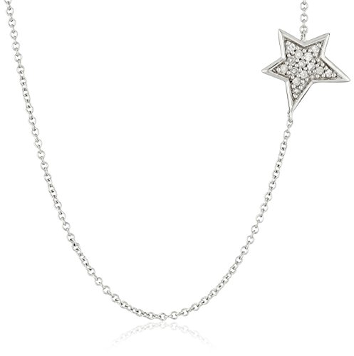 Sterling Silver Diamond Star Necklace (1/10cttw, I-J Color, I2-I3 Clarity), 18