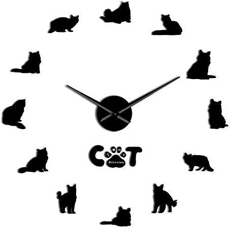 MMLUCK Sin Marco Gato Siberiano Bricolaje Acrílico 3D Reloj de Pared Tienda de Animales Decoración Animales Manos largas Espejo Efecto Reloj Regalo para el Amante de los Gatos (Negro) 37inch: Amazon.es: Hogar
