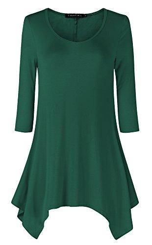 Urban CoCo Women's Tunic Top 3/4 Sleeve Solid Color Shirt (XL, Blackish green)