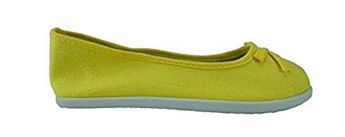 Schuhzoo - Damen Ballerina Leinenschuhe Slipper Sneaker Blau Hellblau Orange Gelb Größe 36 37 38 39 40 41 42 Gelb