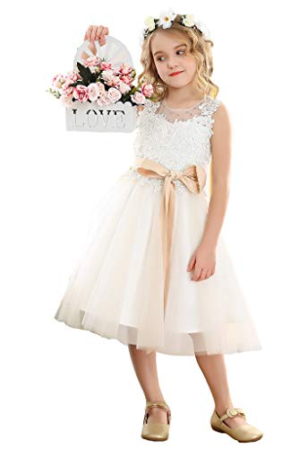 Bow Dream Lace Vintage Flower Girl's Dress Tulle Sleeveless Ivory 8]()