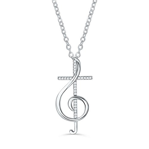 Prjewel Music Note Cross Necklace for Women (925 Sterling Silver) Treble Clef Pendant, 16