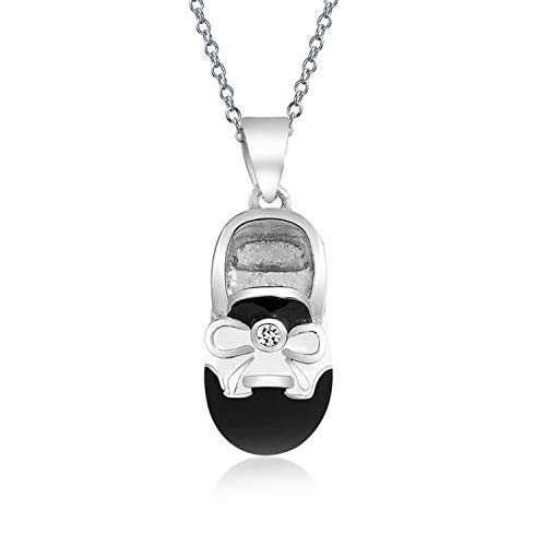 Black White Saddle Baby Shoe Charm Pendant Necklace Shoe Gift For New Mother Women Engravable 925 Sterling - Bootie Engraved Charm Birthstone