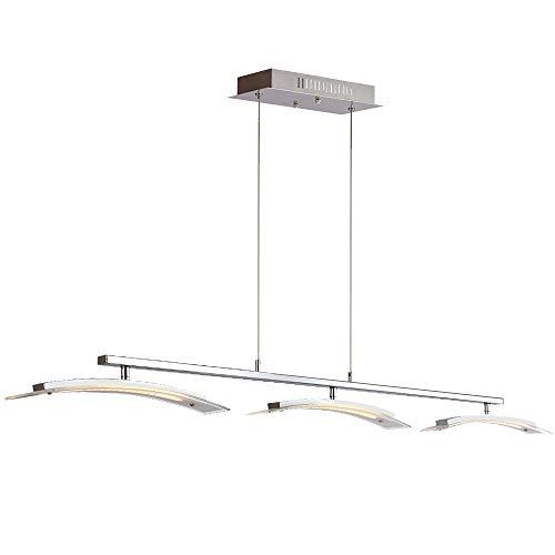 (MINGZE Modern LED Pendant Lighting, Stylish LED Ceiling Chandelier Light, Adjustable Hanging Lamp, Metal Glass 3000K Warm Light for Kitchen Island Dining Room, Restaurant (SB009D))