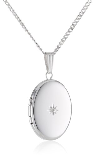 """Sterling Silver Diamond-Accent Oval Locket, 18"""""""