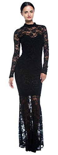 [Women's Black Goth Victorian Inspired Lace Mermaid Sheer High Neck Long Dress (Large)] (Goth Dress)