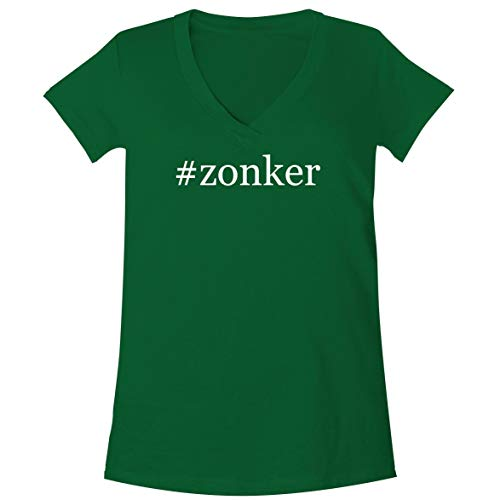 The Town Butler #Zonker - A Soft & Comfortable Women's V-Neck T-Shirt, Green, X-Large