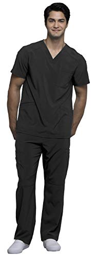 (Cherokee Infinity Men's V-Neck Top with Certainty CK900A & Drawstring Cargo Pant CK200A Scrub Set (Antimicrobial) (Black - X-Small/XSmall Short))