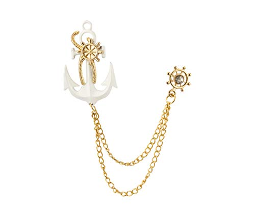 Knighthood White Anchor with Gold Wheel Chain and Swarovski Detailing Brooch Lapel -