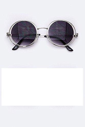 Layered Rim Round Sunglasses (Gray) - Rock Castle Mall