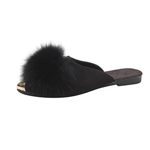 Pantofola In Pelliccia Sintetica, Donne Inkach Punta Aperta Su Morbidi Sandali Piatti Sfilacciati Peluche Infradito Scarpe Nere