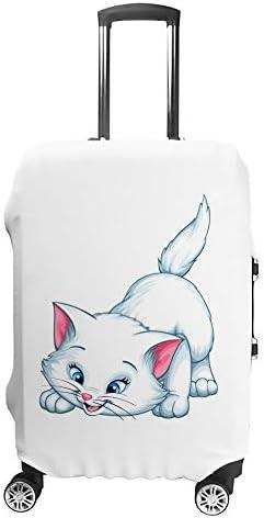 スーツケースカバー トラベルケース 荷物カバー 弾性素材 傷を防ぐ ほこりや汚れを防ぐ 個性 出張 男性と女性かわいい幸せな白猫